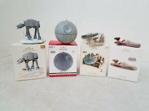 Hallmark Keepsakes Star Wars Vehicles Christmas Ornaments 4x Lot w/ Death Star