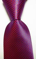 New Classic Dot Red Blue JACQUARD WOVEN 100% Silk Men's Tie Necktie