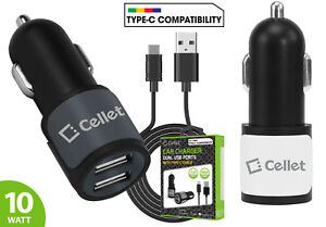High Power Dual USB Port Car Charger with Type-C USB Cable for Type-C Android