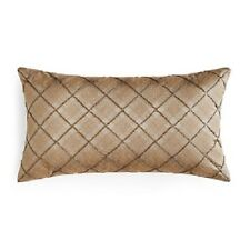 "Hudson Park Luxe Piazza Beaded Plaid 12"" x 22"" Decorative Pillow MOCHA $160 E436"