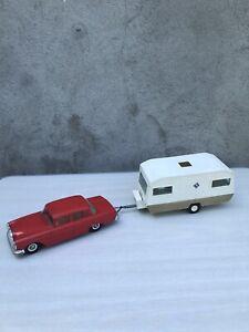 Jouet ancien tôle plastique Mercédès caravane rare attelage Gama Joustra vintage