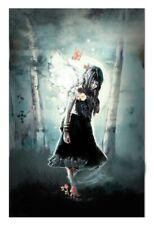 Dark Fairy Fantasy Forest Butterfly Art Manga Style