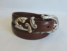 "Brighton Brown Leather Belt Size "" M "" Crafted in USA New without Tags (A-30"