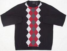 Claiborne Sweater Black Gray Red Crewneck Solid Long Sleeve Cotton Axcess Medium