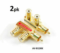 2-PACK RCA Gold-Plated 1-Male/2-Female Slim Line Signal Splitter Adapter
