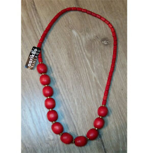 NWT Aarikka Finland Red Wooden Stretch Necklace New