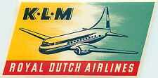 KLM Royal Dutch Airlines - Beautiful & Colorful Old Luggage Label, 1955