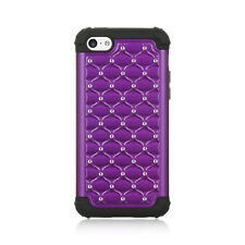 IPHONE 5C / LITE Hybrid Cover Black Silicone Case Lattice Studded Purple Bling