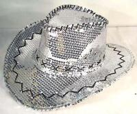 46722c31f6d SEQUIN SILVER COWBOY HAT party supply western hats mens womens COWGIRL new  cap