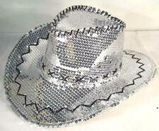 SEQUIN SILVER COWBOY HAT party supply western hats mens womens COWGIRL new cap