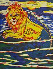 Three Color HAND Pulled Block FINE ART Print Hippocampus Sea LION EBSQ Loberg