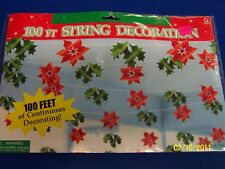 Poinsettia Holly Leaves Winter Christmas Holiday Party 100 ft. String Decoration