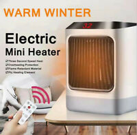 800W-1200W Electric Space Heater For Home Office w/ Remote LED Light Desk Decor