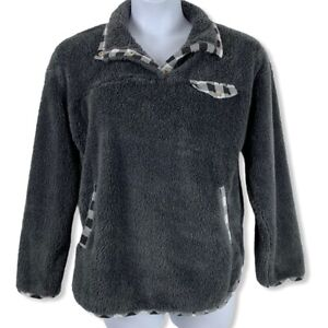 Medium Plush Pullover Sweatshirt Gray Plaid Accents 1/4 Button Up Pockets Fluffy