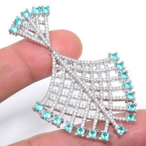 "Blue Topaz & White Topaz 925 Sterling Silver Pendant Handmade Jewelry 2.48"" S254"