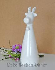Dekoelch ca. 36 cm weiß glänzend lackiert Keramik Elch Dekoration Weihnachten