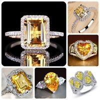 Elegant 925 Silver Citrine Gemstone Ring Women Wedding Bridal Jewelry Size 6-10