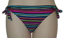 California Waves Size Small Side Tie Multi Color Striped Bikini Bottom