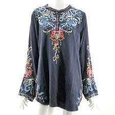 Womens Johnny Was Esta Blue Satin Tunic Blouse Size L Embroidered Boho