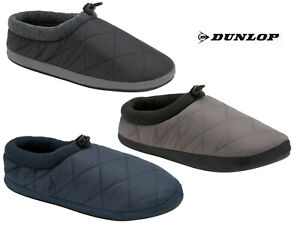 Mens Dunlop Slippers Mules Soft Quilted Padded Duvet Toggle Outdoor Soles