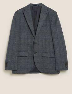 "Marks & Spencer Mens Blue Mix Rich Wool Blend Blazer Jacket 50"" Reg NWT RRP £79"