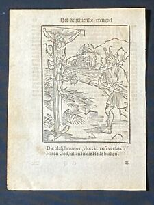 Early Printed Woodcut from Sebastian Brant's Ship of Fools, 1610 Dutch Edition