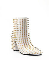 Cape Robbin Billie White Block Heel Pointed Spike Gold Studded Ankle Boots
