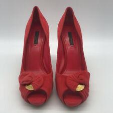 Louis Vuitton Red Suede Peep Toe Pump Heels Size 8.5