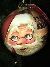 Old World Santa Decoupage Blinking Light Up Ornament