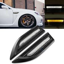 2x Matte Black Universal Amber Dual-Color LED Side Marker Courtesy Lights