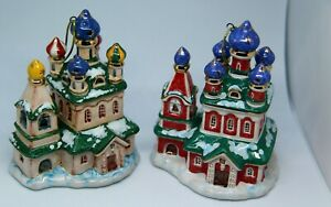"Hand made, hand painted Christmas ornament / majolica figurine ""Church"""