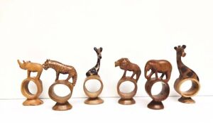 Hand Carved Wood AFRICA Safari ANIMAL Lot of 6 NAPKIN RINGS Holders