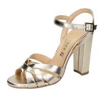 scarpe donna OLGA RUBINI 37 EU sandali platino pelle BS121-37