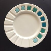 "Vintage MCM Large White Round Ceramic Ashtray Turquoise Aqua Tiles Cigarette 10"""