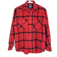 VTG BENNETON Flannel Heavyweight Red Black Plaid Lumberjack Preppie 90s Button