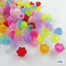 50pcs Cup Flower Bead Cap Craft Beads Frosted Acrylic Mixed 10x7mm Hole 1mm