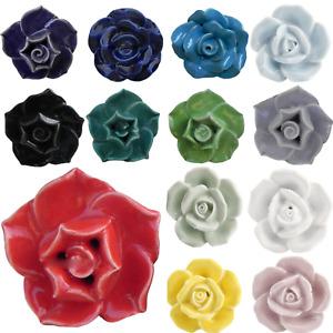 ROSE SHAPED Door Knob FLOWERS Retro Vintage Shabby Chic Ceramic Drawer Pull