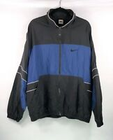 NIKE Vintage 90s Color Block Windbreaker Jacket Mens Sz XL Black Blue Nylon