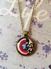 FREE GIFT BAG Bronze Marvel Captain America Shield Cabochon Necklace Chain