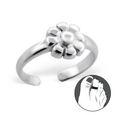 925 Sterling Silver Toe Ring Gorgeous Flower Daisy Adjustable Body Jewellery