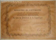 DIPLOME MEDAILLE D'OR SECOURS MUTUELS LA FRATERNELLE DE CASSIS 1895