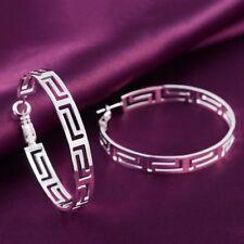 Key 45mm Round Hoop Earrings #E304 Womens 925 Sterling Silver Elegant Greek