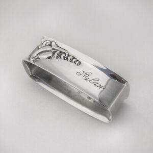 Blossom Rectangle Napkin Ring Webster Sterling Silver Mono Alan