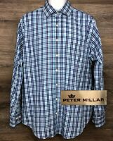 Peter Millar Crown Men's Blue Plaid Cotton Long Sleeve Button Front Shirt Large