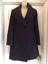 JAEGER Wool & Cashmere Mix Purple Winter Coat Size 10