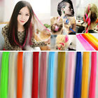 Women Girls Colorful Long Straight Synthetic Clip in on Hair Extensions Piece