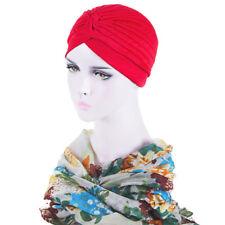 Ladies Muslim Turban Hat Elastic Headband Chemo Pleated Hijab Cap Head Wraps