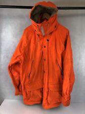 VTG Mens L Gamehide Hush Hide 4 Square Orange Hunting Coat Hooded Parka Jacket