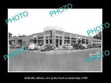 OLD LARGE HISTORIC PHOTO OF BELLEVILLE ILLINOIS, THE FORD CAR DEALERSHIP c1940