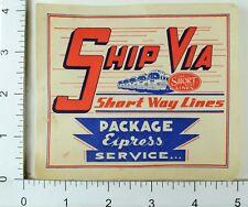 1940's-50's The Short Way Lines Toledo, Ohio Luggage Label Vintage Original E7